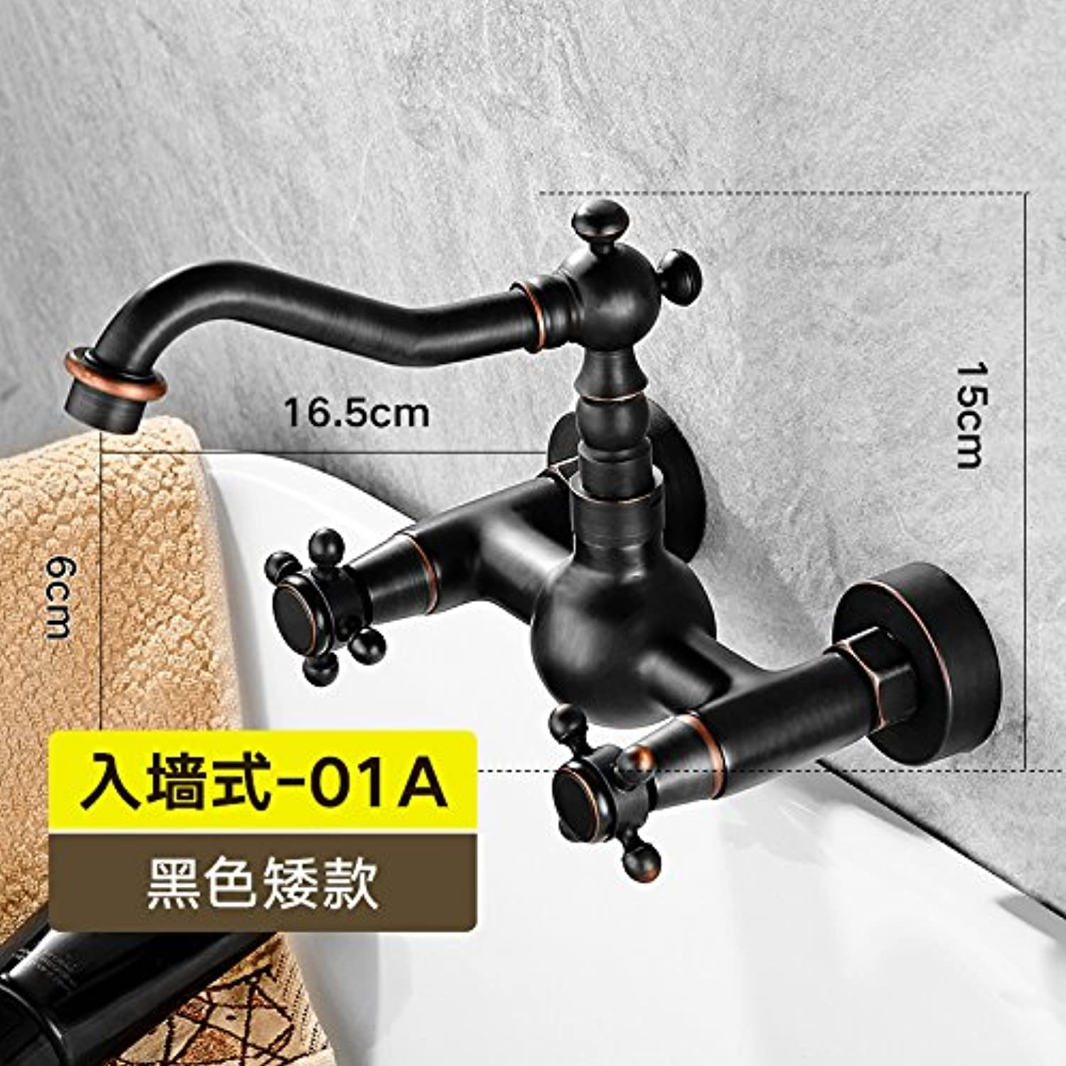 LHbox Basin Mixer Tap The bathrooms are black into full-wall copper wall American check antique faucets continental hand wash basin cold and hot-hole taps, Black low) hand wheel