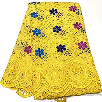 ZHANGOOQI Swiss Voile Lace African Lace Fabric Nigerian Lace Fabrics for Wedding Tissu African Broderie  Color   Yellow Size   5 Yards