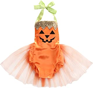 Baby Girl Halloween Pumpkin Costume Bodysuit Tutu Skirt