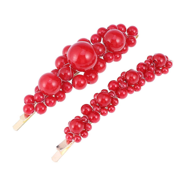 鰐朝履歴書Beaupretty 女性と女の子のための2本の赤い人造真珠のヘアクリップフラワーバレットヘアピン