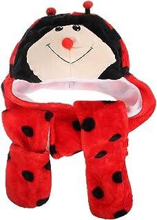 Jixin4you Kids Boys/Girls Adult Animal Head Trapper Hat Hood Scarf Snood Gloves, One Size Plush, 3 in 1 Set Headwear