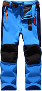 LANBAOSI Kids Boys Girls Waterproof Outdoor Hiking Pants Warm Fleece Lined