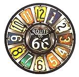 Watching Clocks Orologio da Parete, Design Targa Americano, Stile Vintage, Multicolore