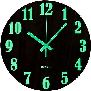 comprar comparacion Topkey - Reloj de pared redondo y luminoso, de 30,4 cm, con diseño de madera silencioso, luces nocturnas, ideal para sala ...