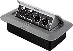 Monoprice Table-top 4-Channel Pop-Up Audio Box 2 XLR Male, 2 XLR Female for Connecting Recording Equipment, Video, Speakers, or an Output to Your Streaming or Remote Conferencing System - Stage Right