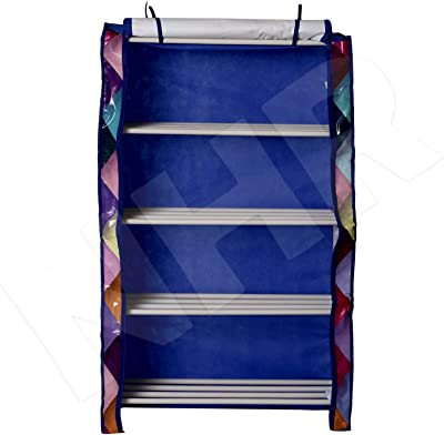 NHR 5 Multipurpose Portable Folding Shoes Rack Cabinet Tower with Iron and Nonwoven Fabric with Zippered Dustproof