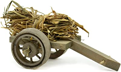 """Touch of Nature 54018 Touch of Nature (Toudl) The Garden Collection Wood Wagon with Straw Bundle 4.5"""", 1Pc"""