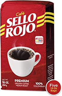 5LB Sello Rojo Coffee | Smooth and Flavorful Low Acidity Coffee with no Bitter Aftertaste or Heartburn | Medium Roast Ground Colombian Coffee | Cafe de Colombia