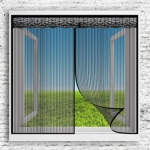 Tenda Zanzariera Magnetica 105x110cm(41x43inch) Anti Zanzare Insetti Insetti Zanzariera Non Accorciabile per Porte Premium Portafinestra, Nero A