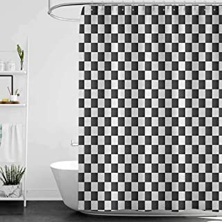 hengshu Checkered Hotel Quality Polyester Shower Curtain Monochrome Composition with Classical Chessboard Inspired Abstract Tile Print Shower and Bathtub W63 x L72 Inch Grey White