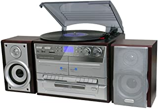 Lenoxx Home Entertainment System with Turntable, Cassette Player , USB Port , SD Slot and CD, Brown