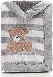 Babydecke, LANDOR Doppelschichten Flanell weiche Babydecke Winter warme Streifen Plüsch Kleinkind Decke bequeme Kinderwagen Decke Grauer Bär