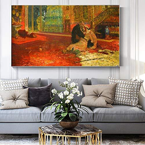 ganlanshu Rahmenloses Gemälde Berühmtes Russisches Ölgemälde über den schrecklichen Ivan und seinen Sohn Ivanwall Wandmalerei50X87cm