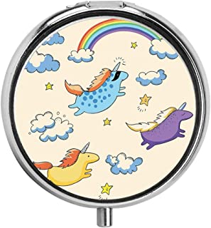 huizehonghong Pastel Colored Illustration of Several Flying Pony Baby Unicorns in The Air Custom Pill Case Round Travel Vitamin Pill Box Case Holder with 3 Compartments