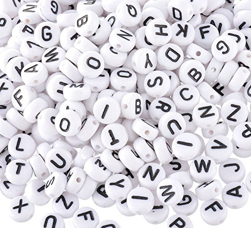 Akak Store Pack of 200 Mixed 4 x 7 mm Round White Acrylic Plastic Beads with Black Letters/Alphabet Letter'A-z' Cube Beads for Bracelets,Necklaces, Key Chains and Kid Jewelry