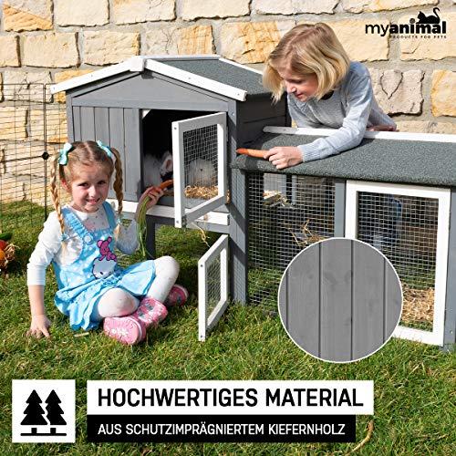 my animal Miweba Hasenstall Kaninchenstall MH-03 Doppelstockhaus - Hasenkäfig - Kiefernholz - Multifunktional - Winterfest - 2 Ebenen (Grau/Weiß)