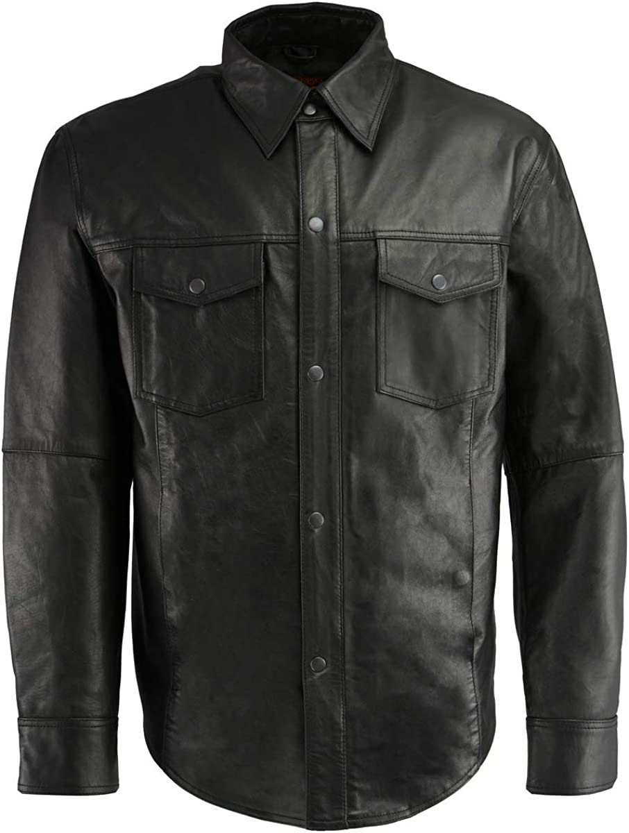 New product type Milwaukee Leather 2021 model LKM1601 Men's Black Lea Front Snap Lightweight