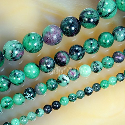 """8mm Natural Faceted Green Ruby In Zoisite Round Gemstone Beaded Necklace 18/"""""""