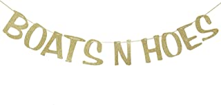 Boats N' Hoes Banner Sign Garland Gold Glitter for Bachelorette Nautical Theme Engagement Bridal Shower Birthday Decor Photo Booth Props