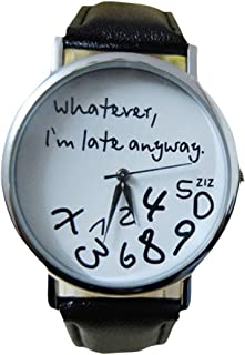 Willsa Women Sports Leather Watch Simple Letter Printed Design Wrist Watch (Black)