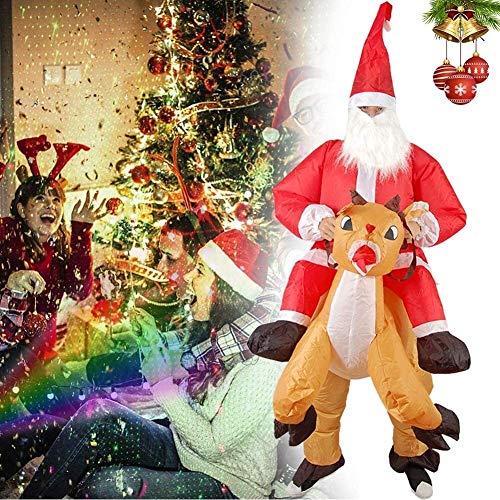 ZRBD-ds Pap Noel Inflable con el Alces Inflable Cosplay,Traje de Pap Noel Inflable Cosplay Cosplay Reindeer-Rider Decoraciones de la Navidad for al Aire Libre,Patio,jardn,csped,Fiesta