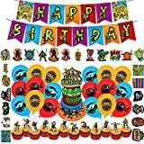82 Pcs Teenage Mutant Ninja Turtles Birthday Party Decorations , Party Supplies For Includes The Ninja Inspired Happy Birthday Banner - Cake Topper - 12 Cupcake Toppers - 18 Balloons - 50 Sticker
