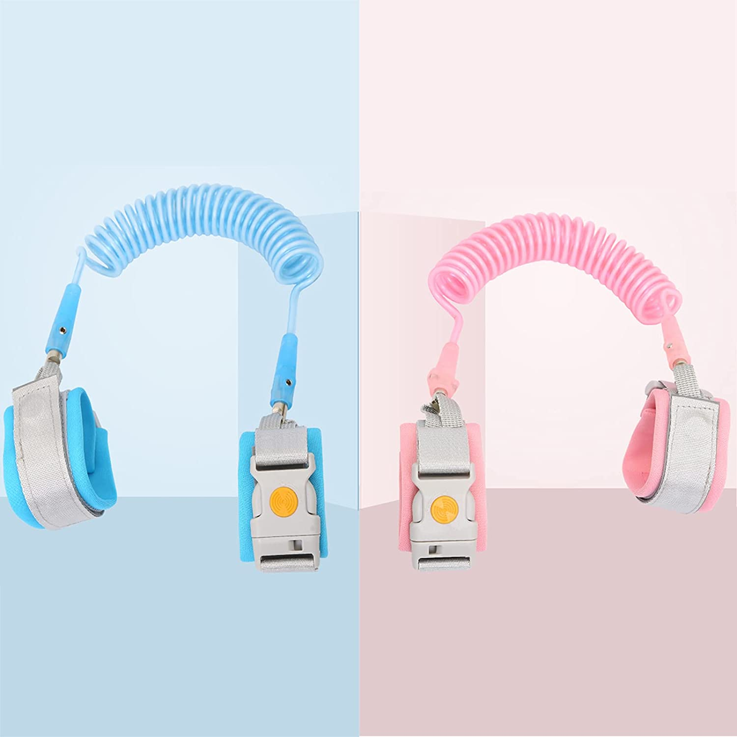 2PCS Anti Lost Wrist Link Safety Wrist Link Suit with Magnetic Induction Lock and Child Leash Suitable for Infants and Children Safely (8.2ft Pink+8.2ft Blue)