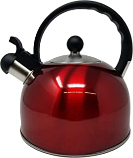 2.5 Liter Whistling Tea Kettle - Modern Stainless Steel Whistling Tea Pot for Stovetop with Cool Grip Ergonomic Handle (Red)