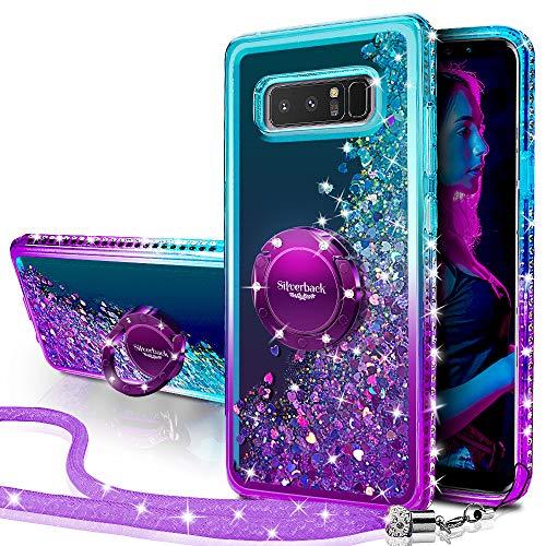 Miss Arts Cover Galaxy Note 8,[Silverback] Custodia Glitter di in TPU con Supporto Rotazione a 360 Gradi, Pendenza Colore Diamond Liquido Cover Case per Samsung Galaxy Note 8 -Porpora