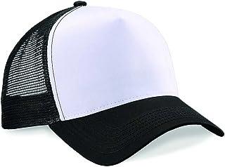 Beechfield Half Mesh Trucker Mens Baseball Cap, Multicolour (Black/White), One Size