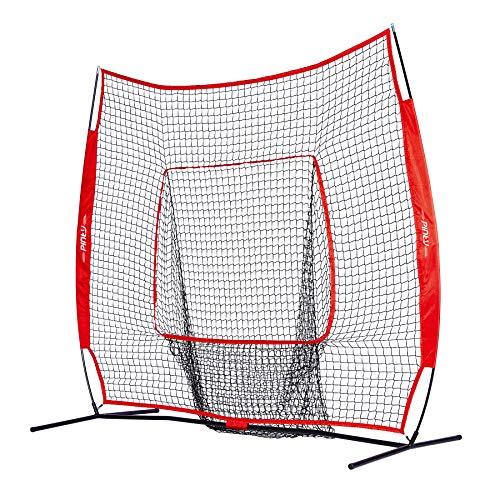 Pinty Baseball and Softball Practice Net 7×7ft Portable Hitting Batting Training Net with Carry Bag and Metal Frame
