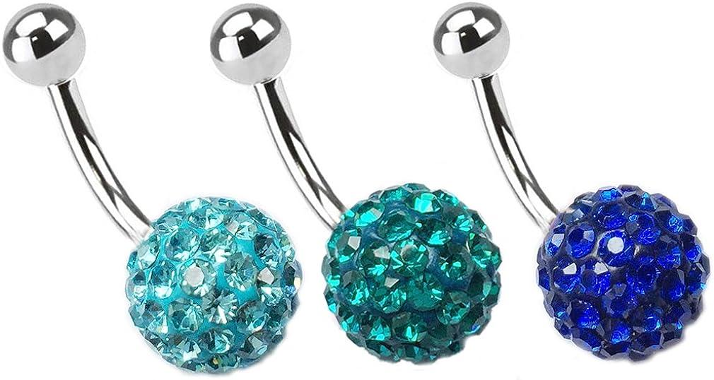 Thenice 3 Pcs 16g 1.2mm Crystal Discos Ball Navel Ring Body Piercing Earrings