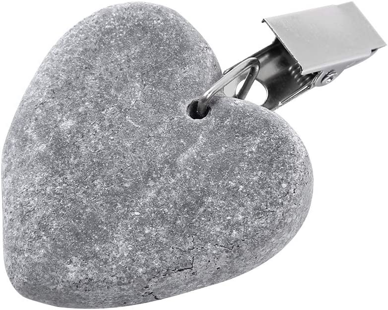 JanJean 4Pcs Heart Shape Stone Tablecloth Weights Heavy Duty Marble Pendant Table Cover Clip Clamps for Outdoor Garden Party Picnic Home Decor Grey One Size