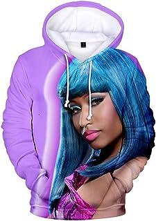 Aierwen Nicki Minaj Print 3D Unisex Hooded Long-Sleeve Hoodie with Pocket Sweatshirt Pullover