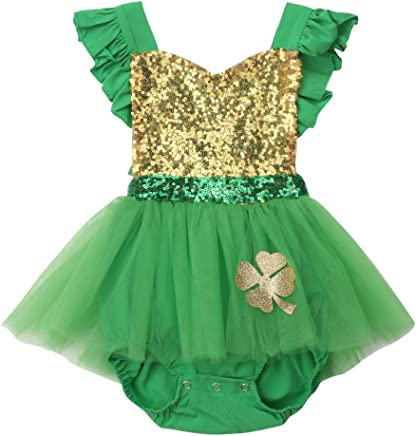 7a03545a15e Patrick s Day Clothes Newborn Baby Girl Backless Sequin Ruffles Romper  Tulle Tutu Dress One