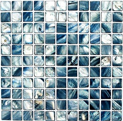 Mosaik Fliese Muschel blaugrau für WAND BAD WC DUSCHE KÜCHE FLIESENSPIEGEL THEKENVERKLEIDUNG BADEWANNENVERKLEIDUNG Mosaikmatte Mosaikplatte