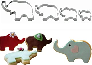 4pcs Elephant Cookie Cutter Set, Stainless Steel Elephant Shaped Baby Shower Cookie Baking Mold