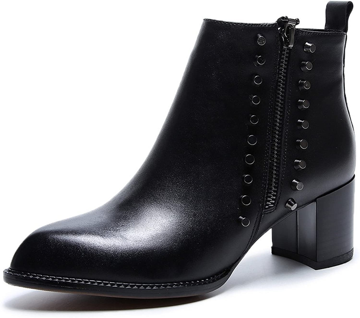 Nine Seven Genuine Leather Women's Pointed Toe Block Heel Rivets Zipper Handmade Sexy Ankle Booties