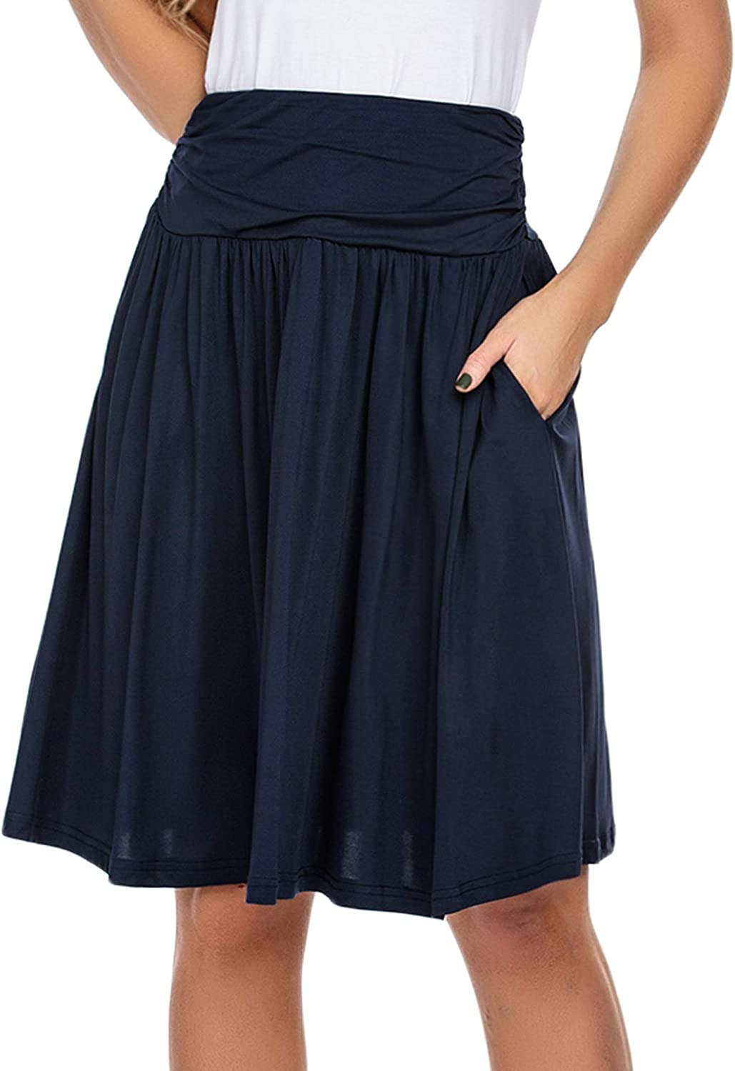 Wildtrest Women's Skirts with Pockets Midi Knee Length High Waist Plus Size Ruched Flowy Skirt