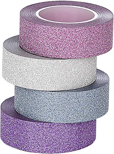3U Glitter Washi Tape Collection 15 mm x 9,1 m cada una, paquete de 4