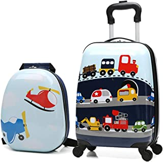 Children Rolling Travel Suitcase Set Animal Cartoon Kids Carry On Set Universal Wheels 18 in with 13 in Cute Cartoon Shoulder Bag Travel Luggage Case Set (Car set)