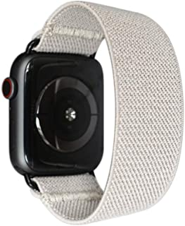 Tefeca Grey Elastic Compatible/Replacement Band for Apple Watch 38mm 40mm 42mm 44mm (Black Adapter for 42mm/44mm Apple Watch, Wrist Size : 6.0-6.4 inch (L2))