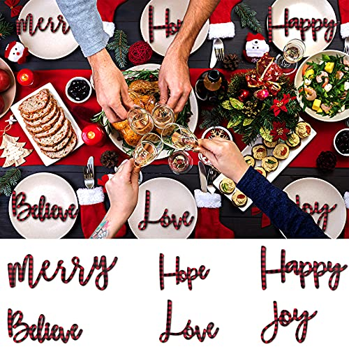 6 Pieces Buffalo Plaid Wooden Letters Sign Christmas Joy Merry Hope Happy Love Believe Wooden Decor Wooden Large Letter Ornaments for Indoor Outdoor Home Front Door Christmas Decor (Red and Black)