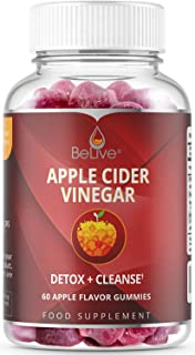 Apple Cider Vinegar Gummies with Mother Enzyme & Ginger - Unfiltered and All-Natural - Helps with Detox, Cleanse & Bloating Relief for Women, Men, and Kids - 1 Month Supply