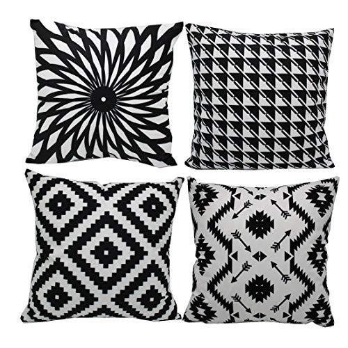 MOCOFO schwarz weiß schwarz Zierstruktur Chenille Kissenbezug Sofa Zierkissenbezug (Samtgeometrie, 45x45cm)