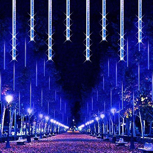 288LED Meteorschauer Regentropfe Lichter,KINGCOO Wasserdicht 30cm 8 Tubes Schneefall Eiszapfen Lichtschläuche Solar Lichterkette für Garten Hochzeit Neujahr Party Weihnachtsbaum (Blau)