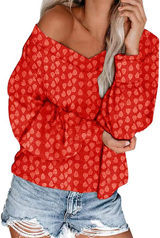 Winsummer Plus Size Off One Shoulder Tops For Women Long Sleeve Pullover Sweater Jumper Loose Tunic Tops Blouses