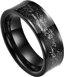 Doux Mens 8mm Black Tungsten Carbide Wedding Ring Black Sandstone & Silver Foil Inlay High Polished