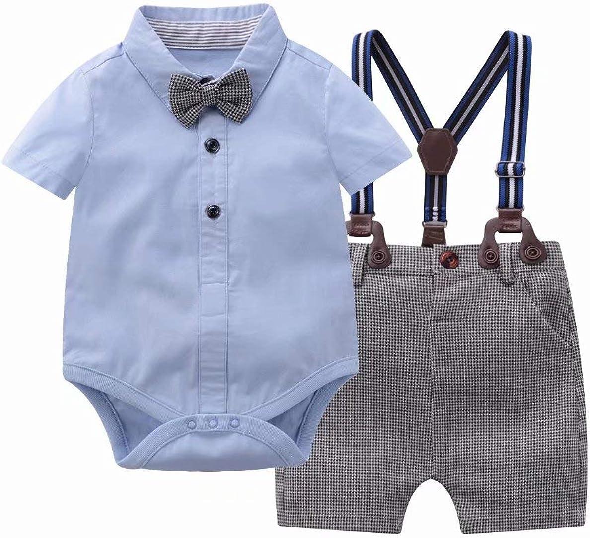 Tiepant Gentleman Outfits Suits Infant Bodysuit Clothing Set