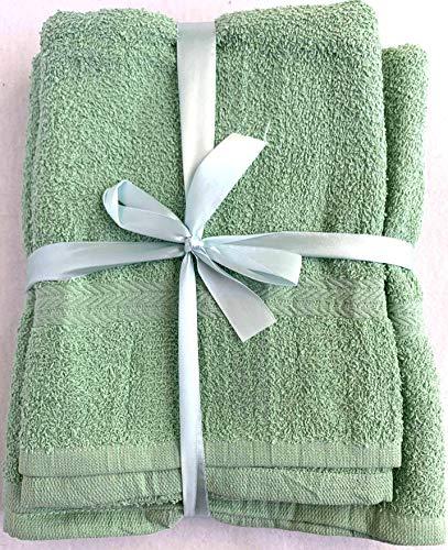 Grote Badhanddoeken Set van 3 Grote Katoenen Badhanddoeken. 1 Douchehanddoek (100x150 cm) + 1 Handdoek (70x140 cm), en 1 Voethanddoek (50x100 cm). Zeer Absorberend, Duurzaam en 100% Katoen (Groen)